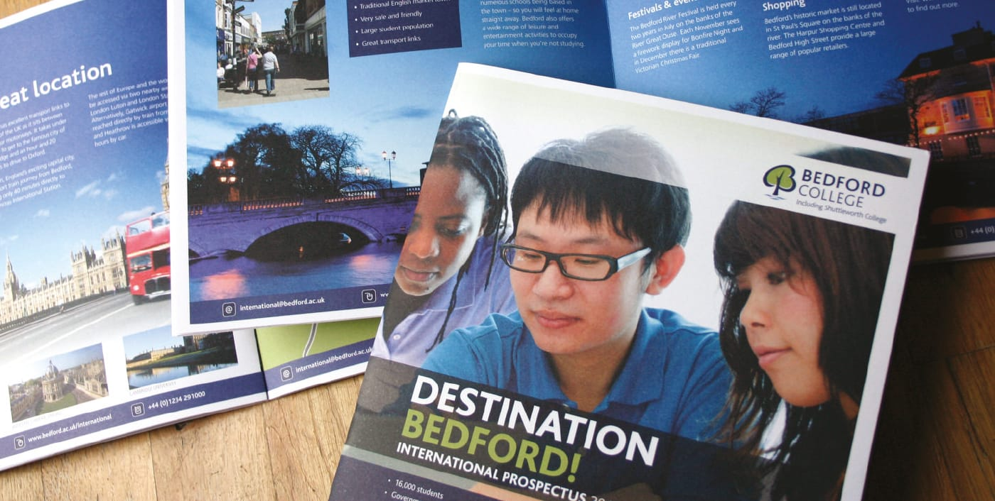 Creation of a brochure to encourage international students to consider Bedford College when looking for their next step on the education ladder.