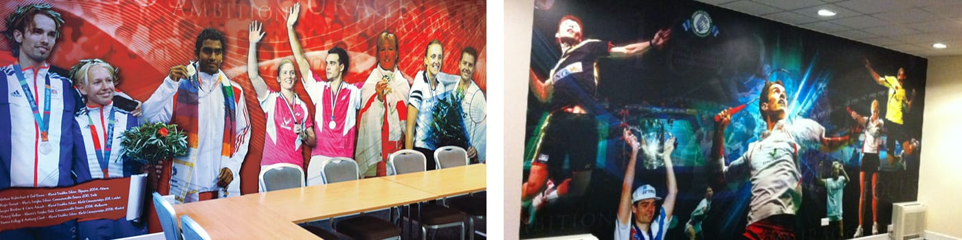 Creation of large format wall graphics at the head office of the sports national governing body.