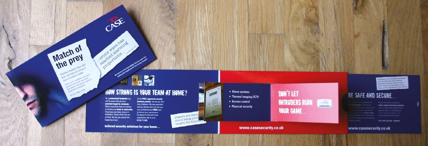 Design and production of an interactive direct mail device aimed at professional footballers on behalf of a national security company.