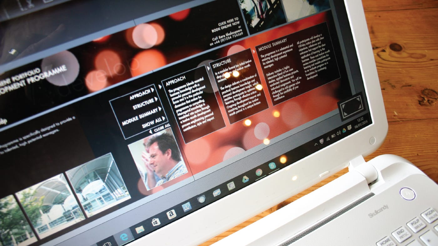 Creation of an interactive digital brochure on behalf of a specialist management business.