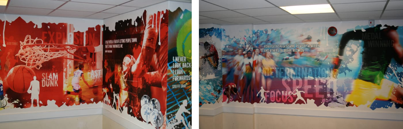 Creation of large format wall graphics for a specialist sports academy.
