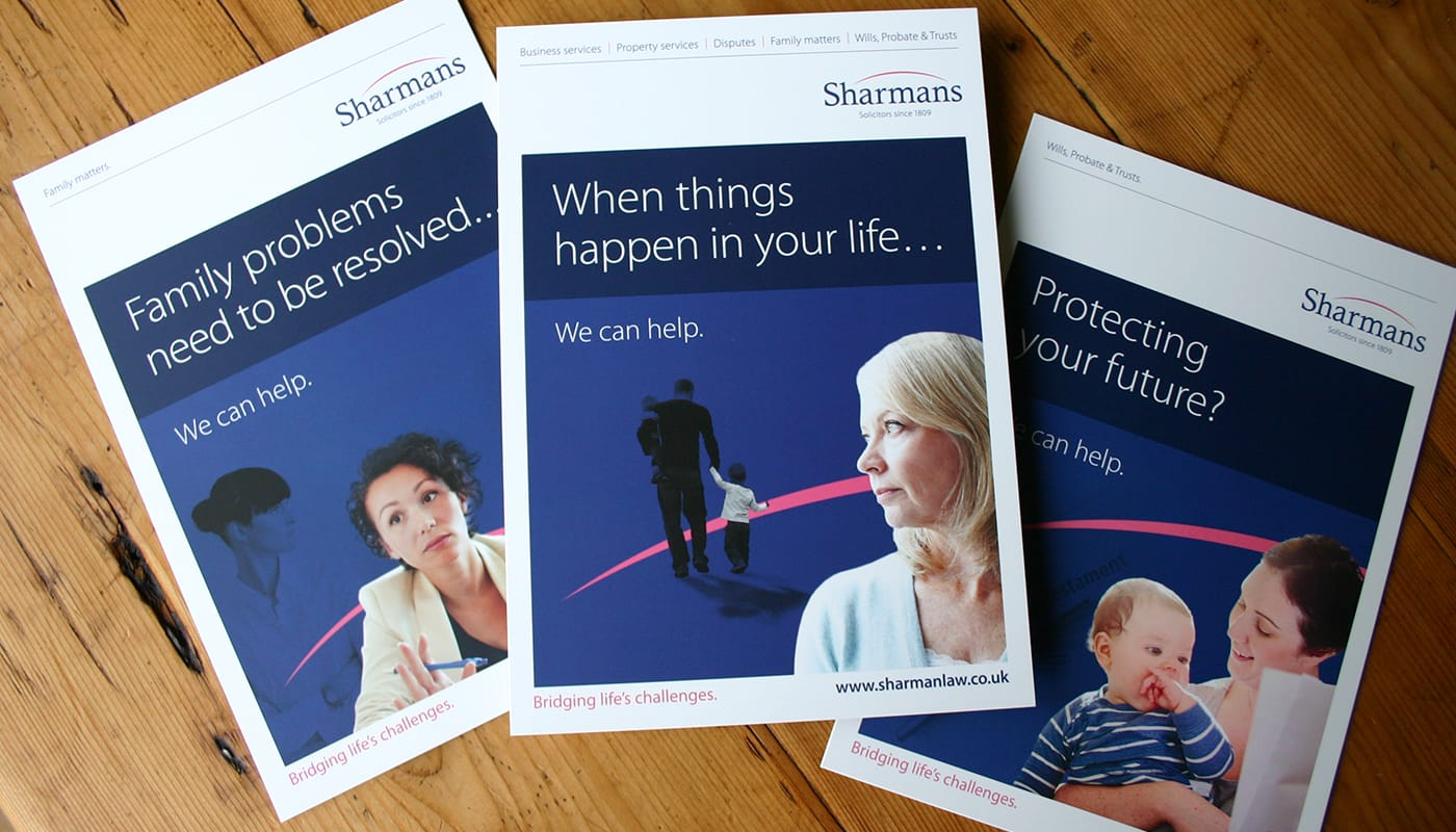 Creation of a suite of service specific leaflets on behalf of a well established solicitors.