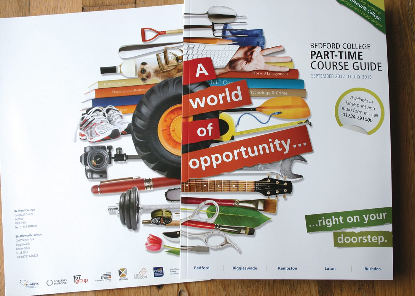 Creation of a series of prospectuses encouraging part-time learning, on behalf of a major regional college.